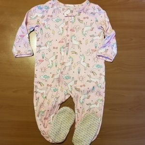 Carter's Rainbow Unicorn Zip Up Footed Pajamas 18m